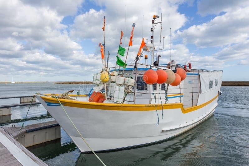 Vissersboot op octopussen in Portugal het dok stock fotografie