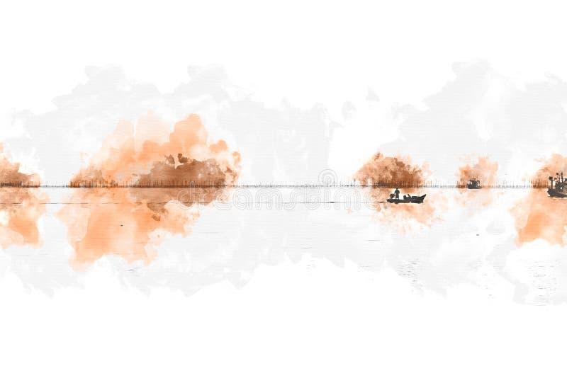 Vissersboot in overzeese oceaan bij waterverf het schilderen vector illustratie