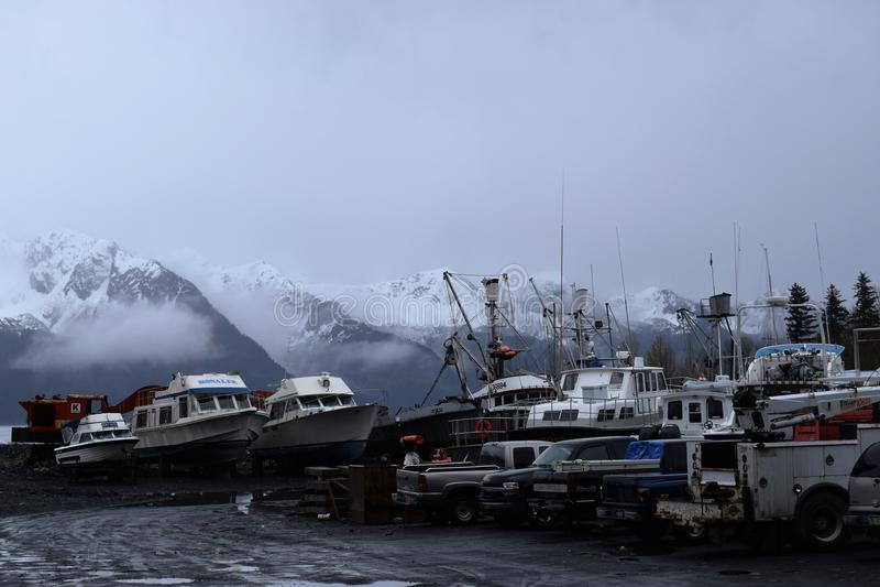 Vissersbootwerf stock fotografie