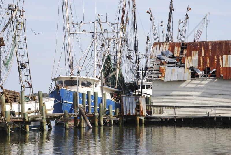 Vissersboten bij de haven in Amelia Island, Florida worden vastgelegd dat royalty-vrije stock fotografie