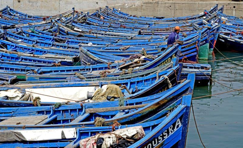 Vissersboten in de haven van Essaouira royalty-vrije stock fotografie