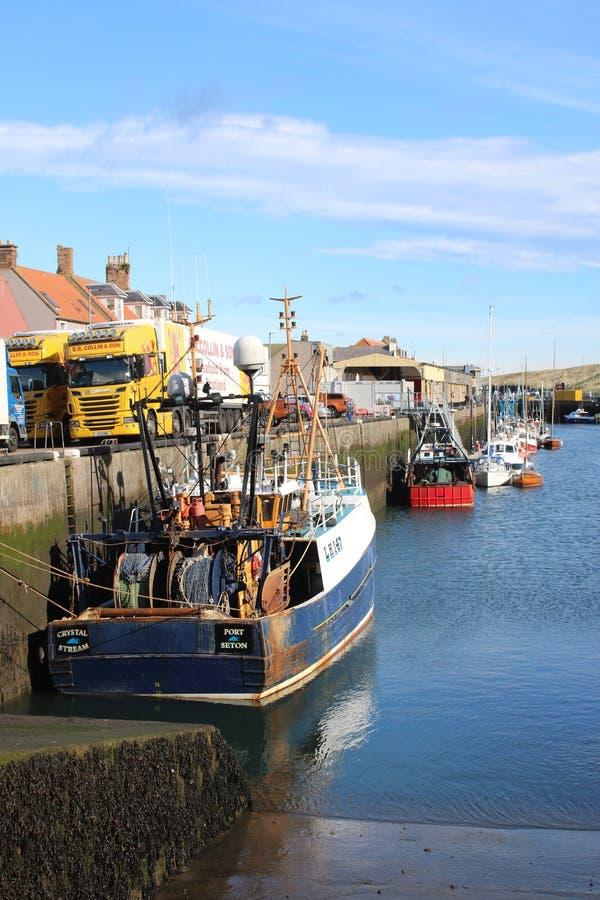 Vissersboten en zeevruchtenvrachtwagens, Eyemouth-haven stock fotografie
