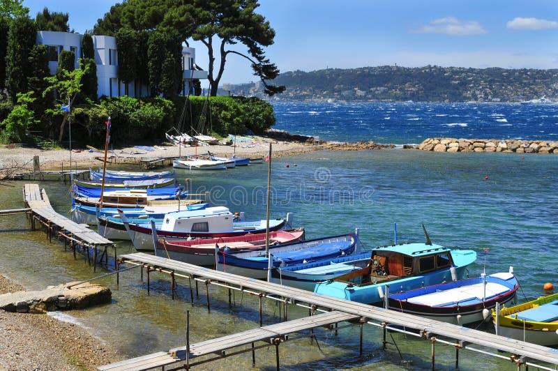 Vissersboten in Franse Riviera, Frankrijk royalty-vrije stock afbeeldingen