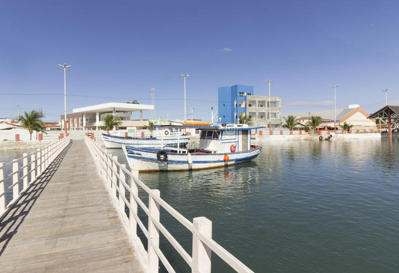 Vissersboten in Guamare, RN, Brazilië stock foto