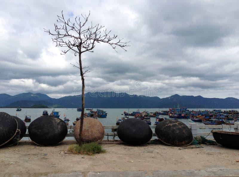 Vissersboten in jachthaven in Nga Trang, Vietnam royalty-vrije stock foto's