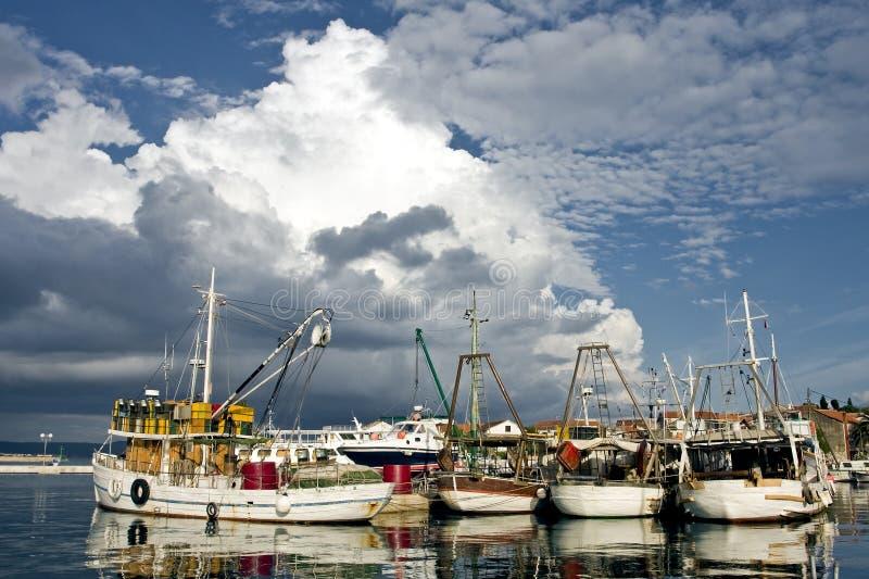Vissersboten in Kroatië stock fotografie
