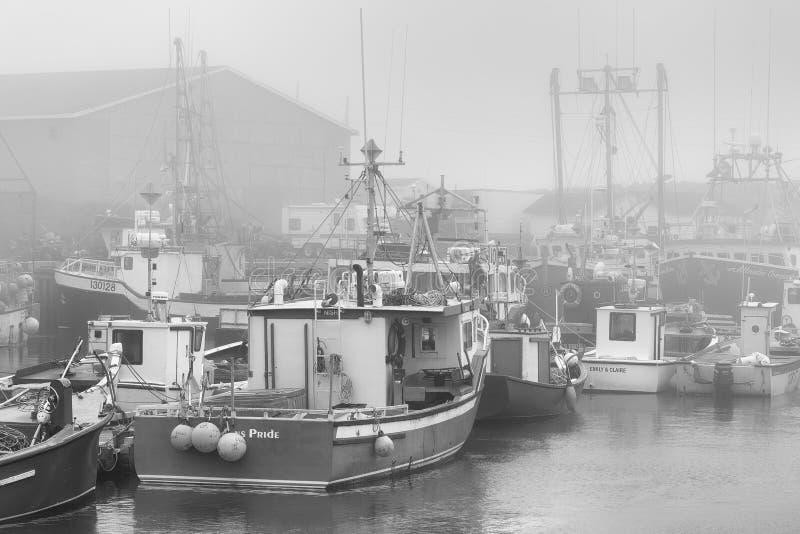 Vissersboten in mistige haven van de Bruid ` s van Heilige stock foto's