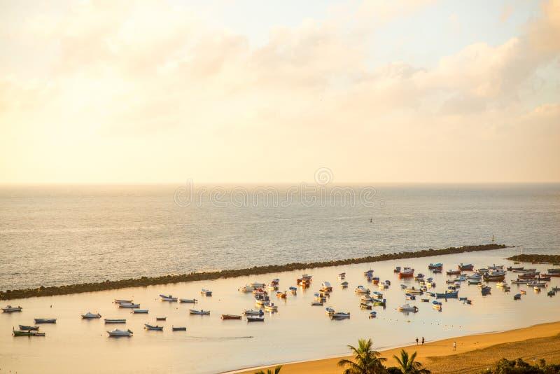 Vissersboten op het strand royalty-vrije stock afbeelding