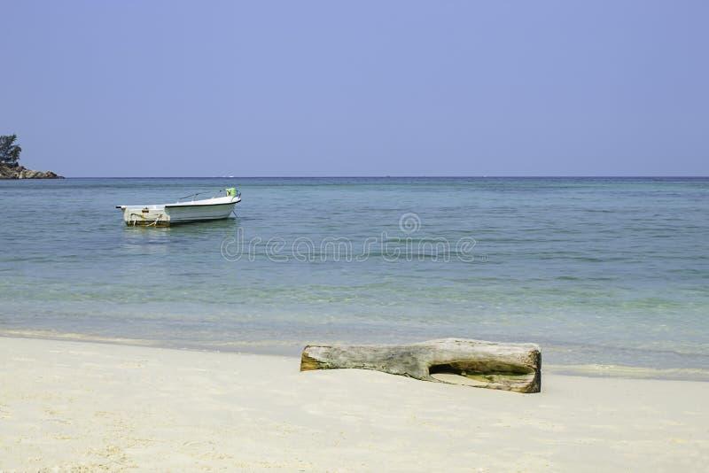 Vissersboten op het Strand bij Haad-salade, koh Phangan, Surat Thani in Thailand worden geparkeerd dat stock afbeelding