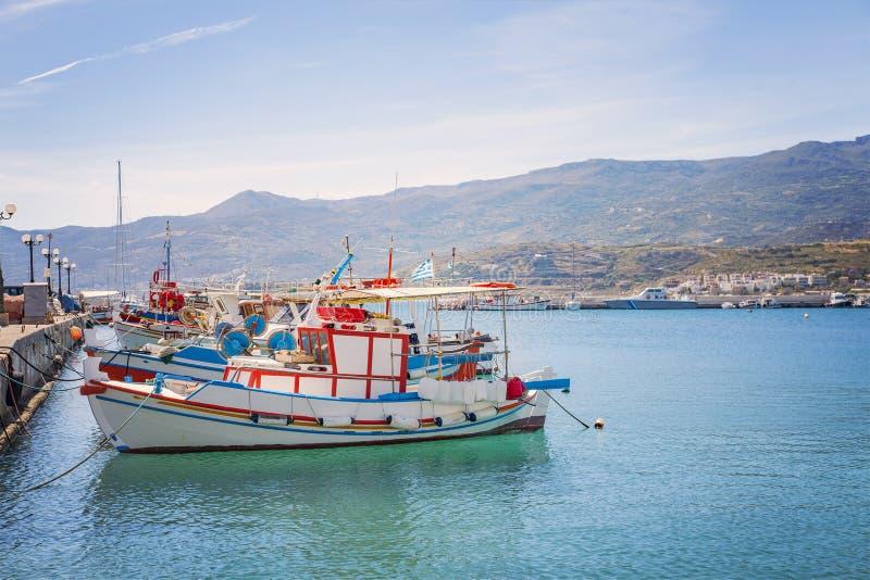 Vissersboten op Kreta royalty-vrije stock foto