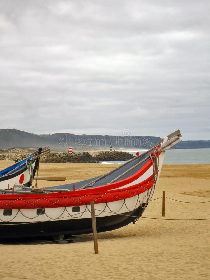 Vissersboten van Nazare royalty-vrije stock foto
