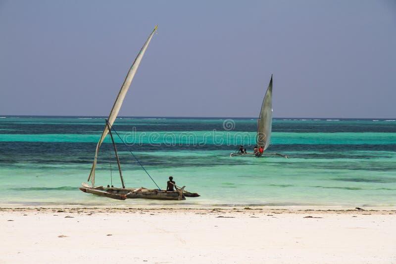 Vissersboten in Zanzibar royalty-vrije stock afbeeldingen