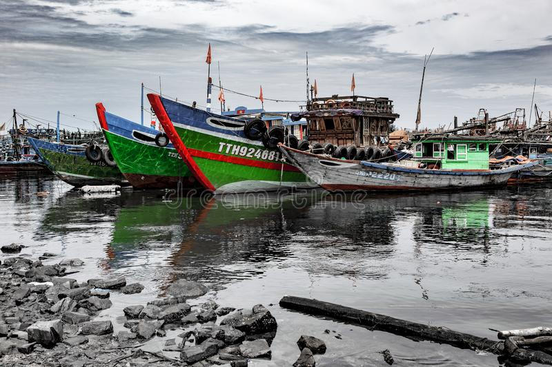 Vissershaven in danang in Vietnam stock foto