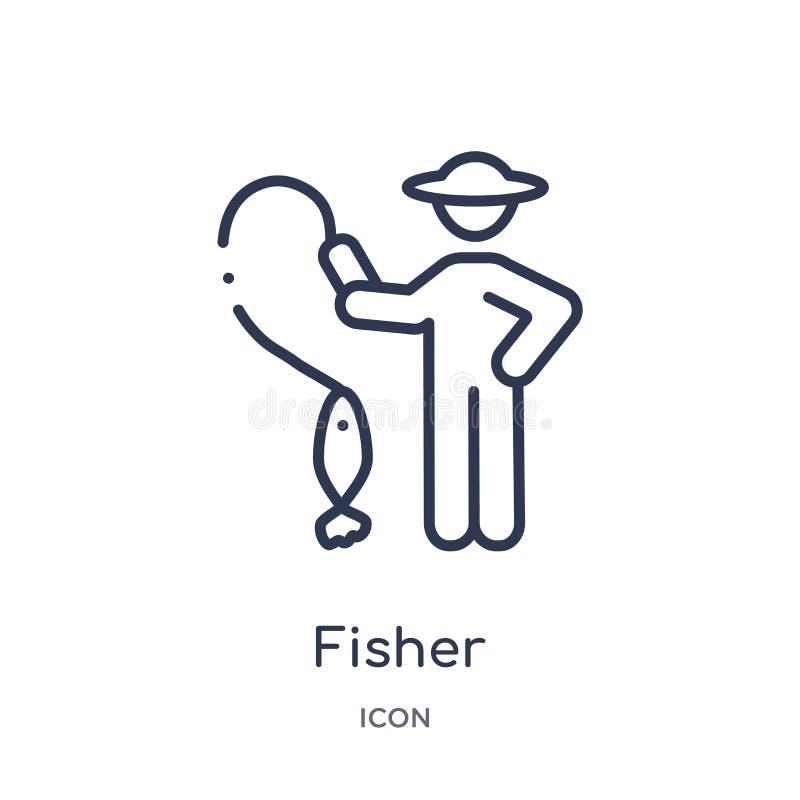 Visserspictogram van het overzichtsinzameling van mensenvaardigheden Het dunne pictogram van de lijnvisser dat op witte achtergro stock illustratie
