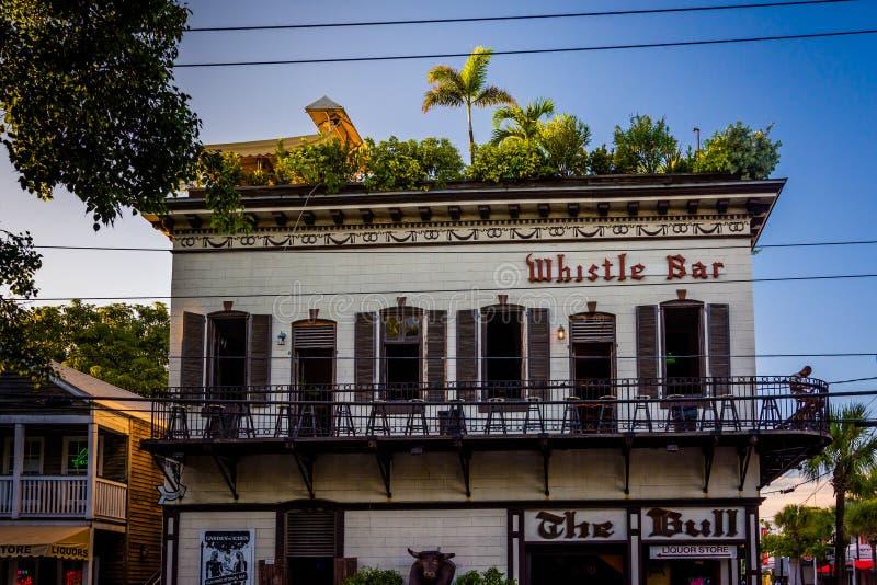 Visslingstången i Key West, Florida arkivbilder