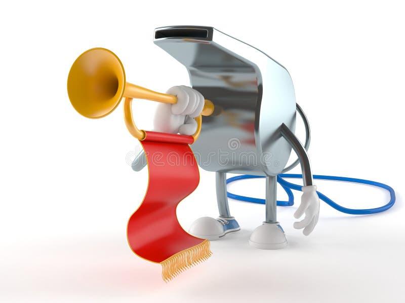 Visslingtecken som spelar trumpeten royaltyfri illustrationer