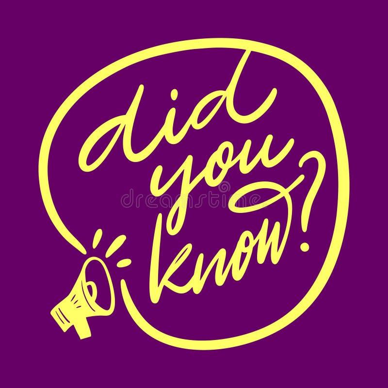 Visste du för vektoruttrycket för handen utdragen bokstäver Isolerat p? purpurf?rgad bakgrund stock illustrationer
