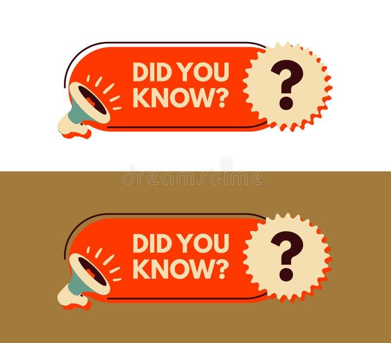Visste du? Megafon med bubblaanförande Klistermärke för befordran och annonsering stock illustrationer