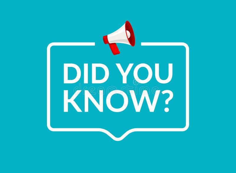 Visste du text i anförandebubblameddelande Frågebanret eller vishet frågar information om tecken stock illustrationer