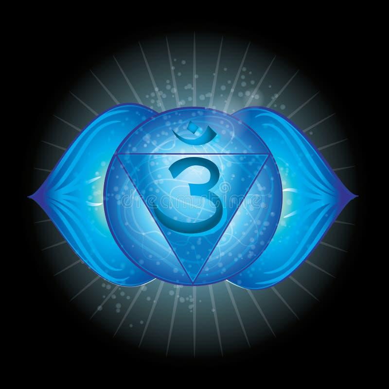 Vissudha Накаляя значок chakra Концепция chakras используемых в Индуизме, буддизме и Ayurveda иллюстрация вектора