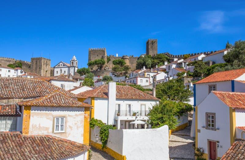 Vista à cidade Center histórica de Obidos, Portugal fotografia de stock royalty free