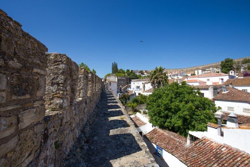 Vista à cidade Center histórica de Obidos, Portugal imagens de stock