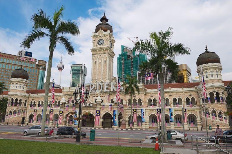 Vista à construção de Sultan Abdul Samad no quadrado Dataran Merdeka da independência em Kuala Lumpur, Malásia fotos de stock