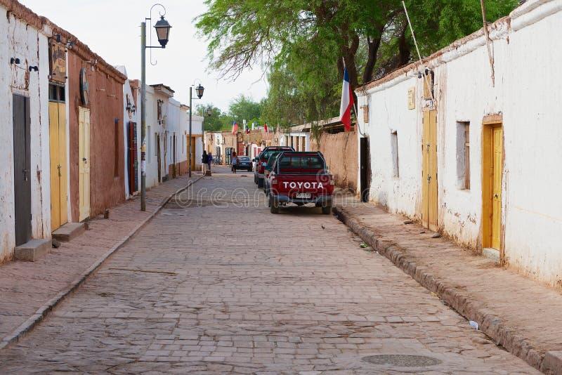 Vista à rua de San Pedro de Atacama, o Chile imagem de stock