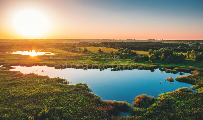 Vista aérea acima da floresta e do lago do verão no por do sol, panorama bonito da paisagem da natureza imagens de stock