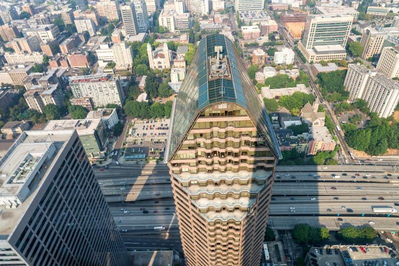 Vista aérea asombrosa del horizonte de Seattle, Washington, los E.E.U.U. fotos de archivo libres de regalías