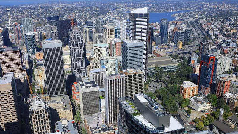 Vista aérea baixa de Seattle, Washington imagens de stock royalty free