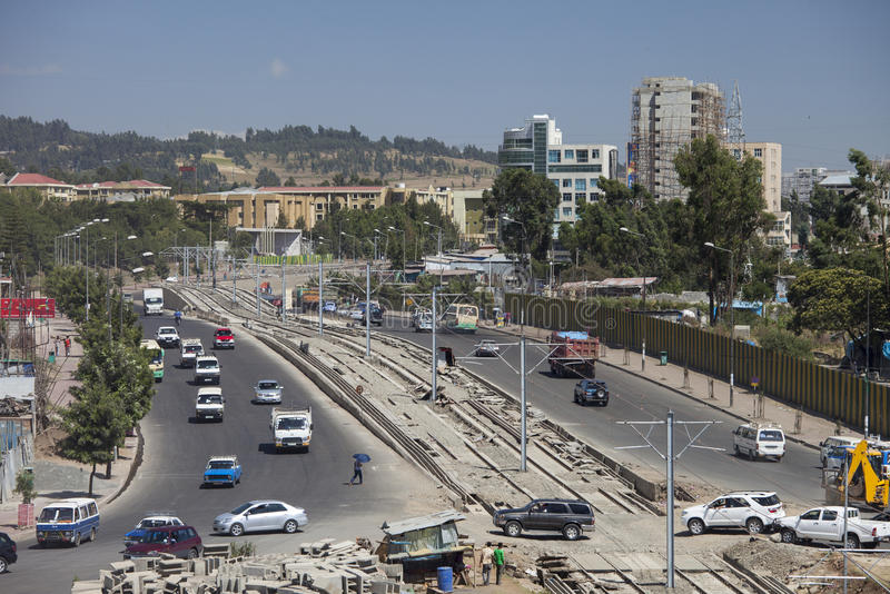 Vista aérea baja del tráfico de Addis Ababa foto de archivo libre de regalías
