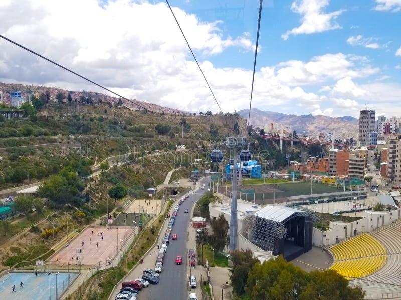 Vista aérea centro de ciudad de La Paz, Bolivia fotografía de archivo