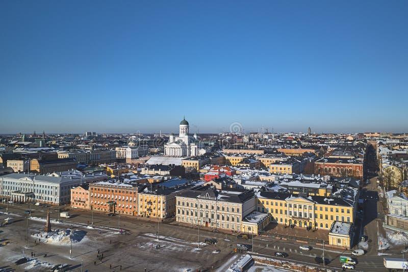 Vista aérea, centro histórico de Helsínquia fotos de stock royalty free
