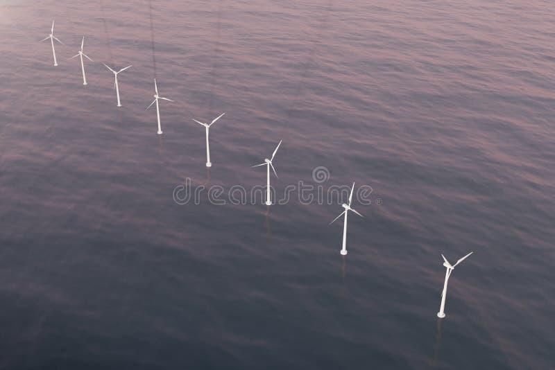 Vista aérea costera de las turbinas de viento en el mar Energía limpia, concepto ecológico representación 3d ilustración del vector