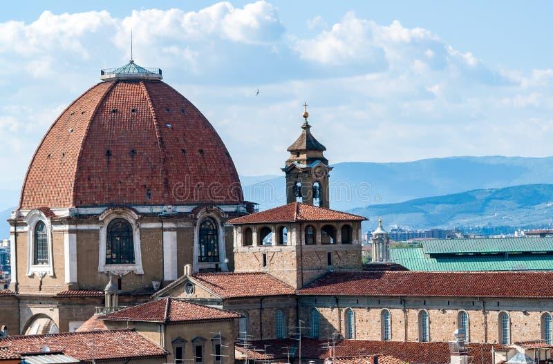 Vista aérea da abóbada das capelas de Medici - Florença fotografia de stock royalty free