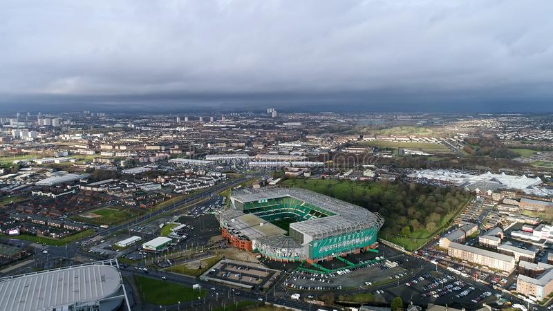 Vista aérea da arena celta do futebol do estádio do parque FC em Glasgow imagens de stock