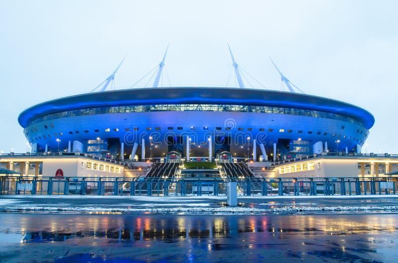Vista aérea da arena de Zenit do estádio, o mais caramente no mundo, o campeonato do mundo de FIFA em 2018 Rússia, St Petersburg, fotos de stock