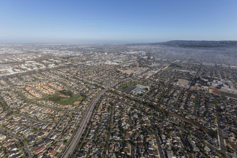 Vista aérea da avenida de Anza perto de Del Amo Blvd em Torrance California fotografia de stock