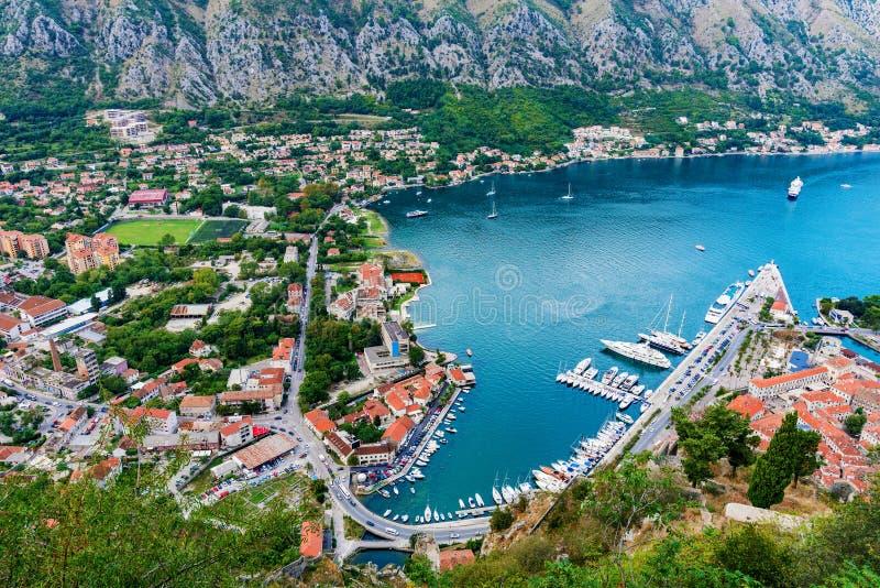 Vista aérea da baía de Kotor imagens de stock royalty free