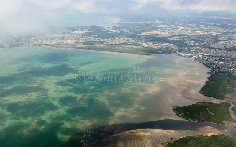 Vista aérea da baía da decepção em Queensland fotos de stock royalty free
