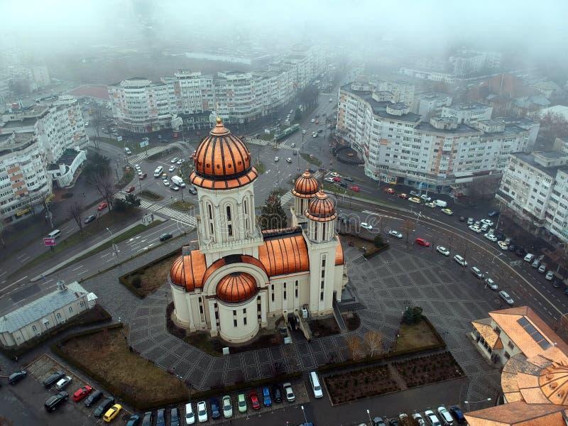 Vista aérea da catedral ortodoxo da cidade de Braila fotografia de stock royalty free