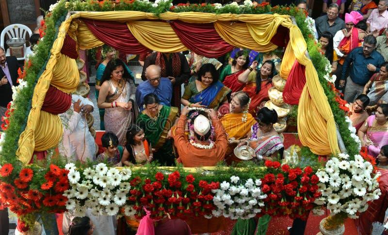 Vista aérea da cerimônia de casamento imagem de stock royalty free