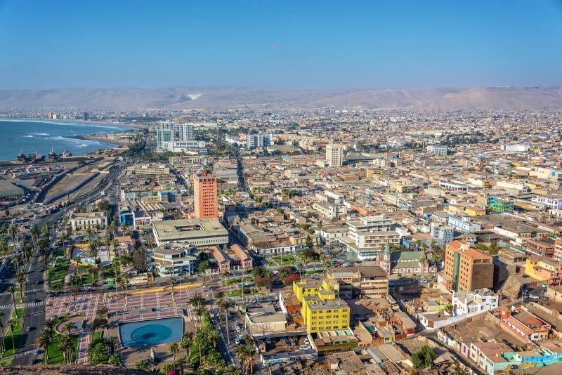 Vista aérea da cidade de Arica o Chile imagem de stock