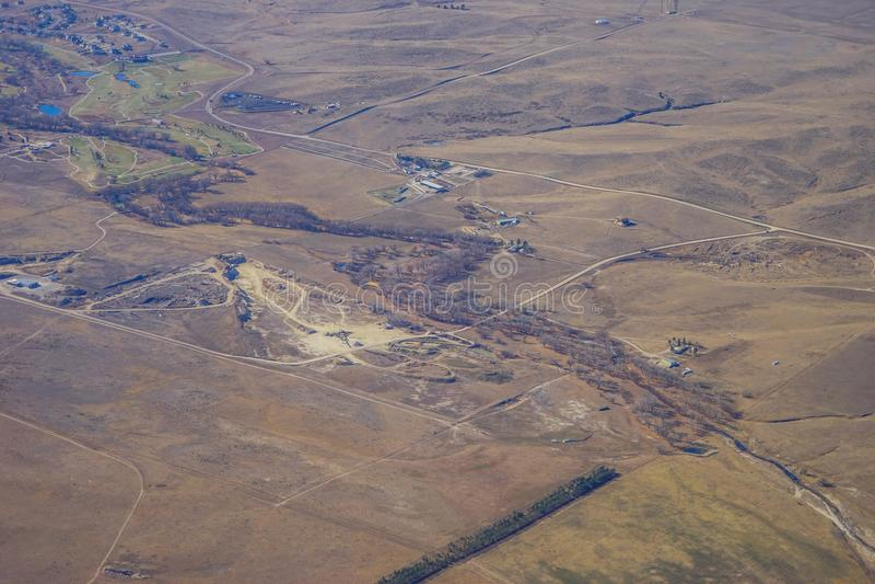 Vista aérea da cidade de Denver suburbana fotos de stock royalty free