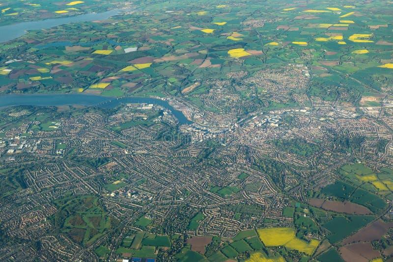 Vista aérea da cidade de Ipswich em Inglaterra oriental imagem de stock royalty free