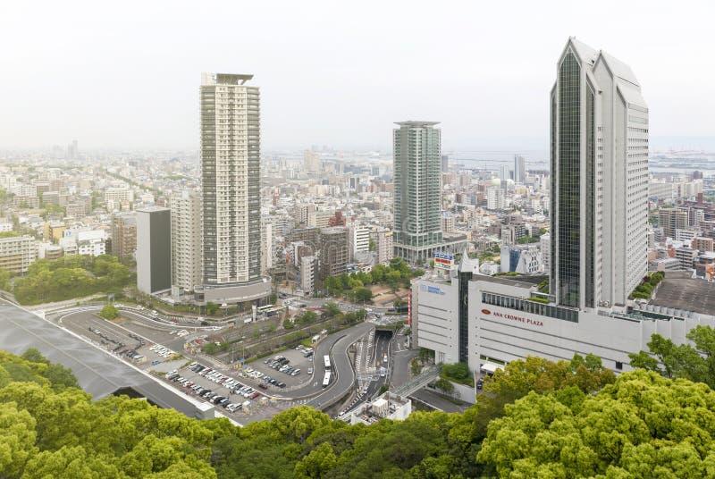 Vista aérea da cidade de Kobe da montagem Rokko, da skyline e da arquitetura da cidade de Kobe foto de stock