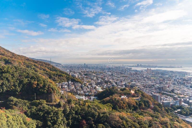 Vista aérea da cidade de Kobe no outono fotografia de stock royalty free