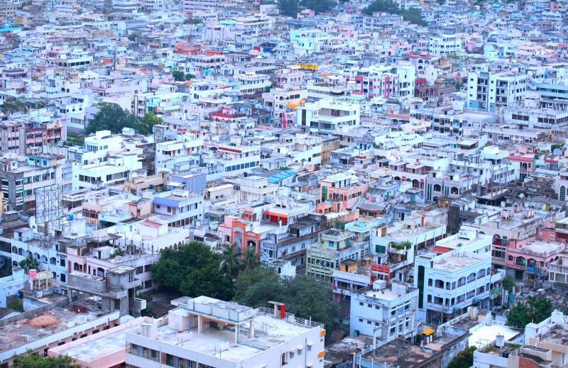 Vista aérea da cidade de Vijayawada fotografia de stock royalty free