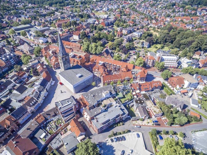 Vista aérea da cidade histórica Ahaus em Westphalia, Alemanha imagens de stock royalty free